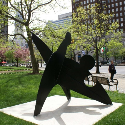"""Three Discs, One Lacking"" by Alexander ""Sandy"" Calder with his grandfather's ""William Penn"" in the distance. Photo by Caitlin Martin © 2010 for the Association for Public Art."