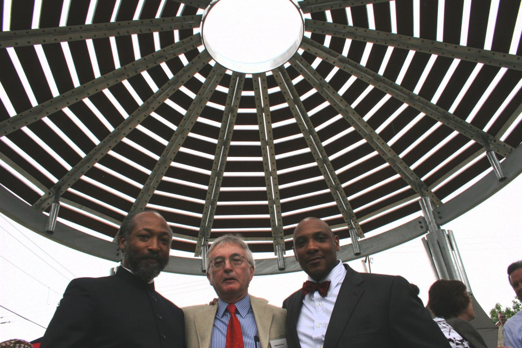 Artist Lonnie Graham, consulting architect George Claflen, and artist John Stone under the oculus of the Sanctuary, part of Common Ground.