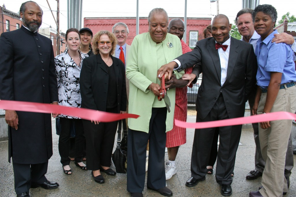 "Cutting the ribbon at ""Common Ground"" dedication ceremony."