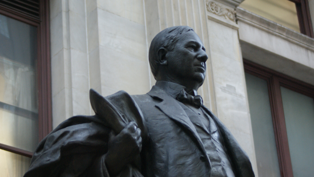 A detail of John Massey Rhind's statue of John Wanamaker