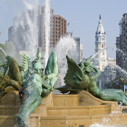 Swann Memorial Fountain by Alexander Stirling Calder with City Hall in the background