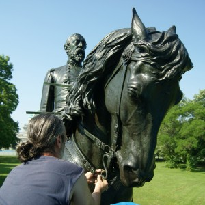 Sculpture of General Meade being restored
