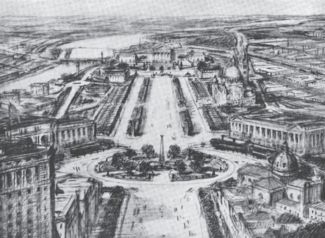 Sketch by Jacques Gréber from the top of City Hall Tower to Logan Square, and to the western end of the Parkway toward Art Museum.
