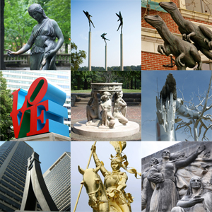 Collage of public art in Philadelphia