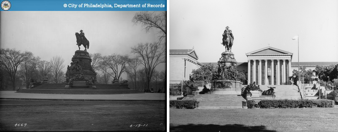 Washington Monument before and after relocation